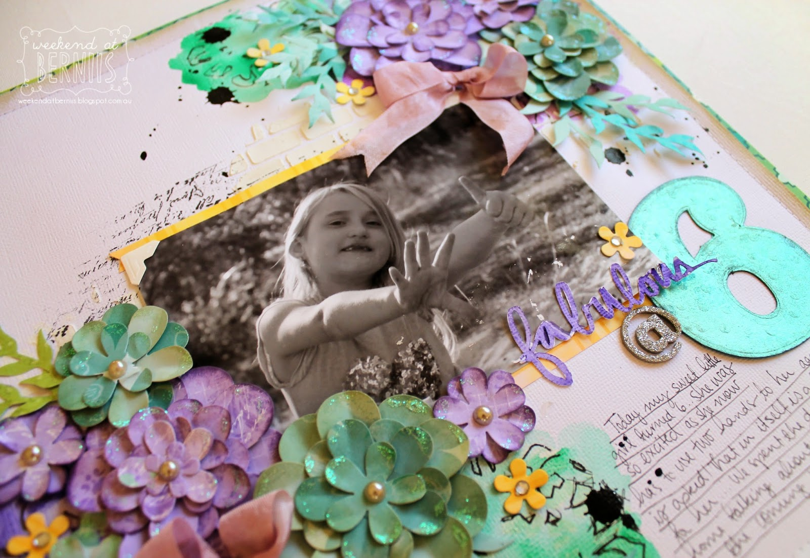 Fabulous at 6 layout by Bernii Miler using Couture Creations dies and BoBunny Enchanted Garden Collection.