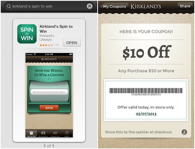 kirklands spin and win app
