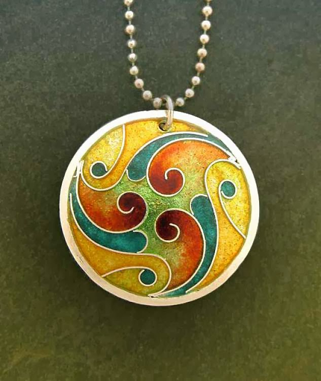 Hand Crafted Enamel House Necklace Pendant Copper Home: Betty McKim Jewelry: October Jeweler I Know Lillian Jones