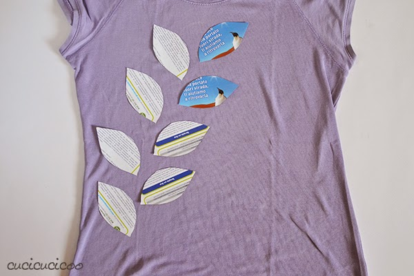 Layered t-shirts with reverse applique and bleach: Cucicucicoo for Refashion Co-op