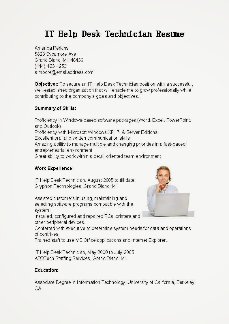 resume samples  it help desk technician resume sample