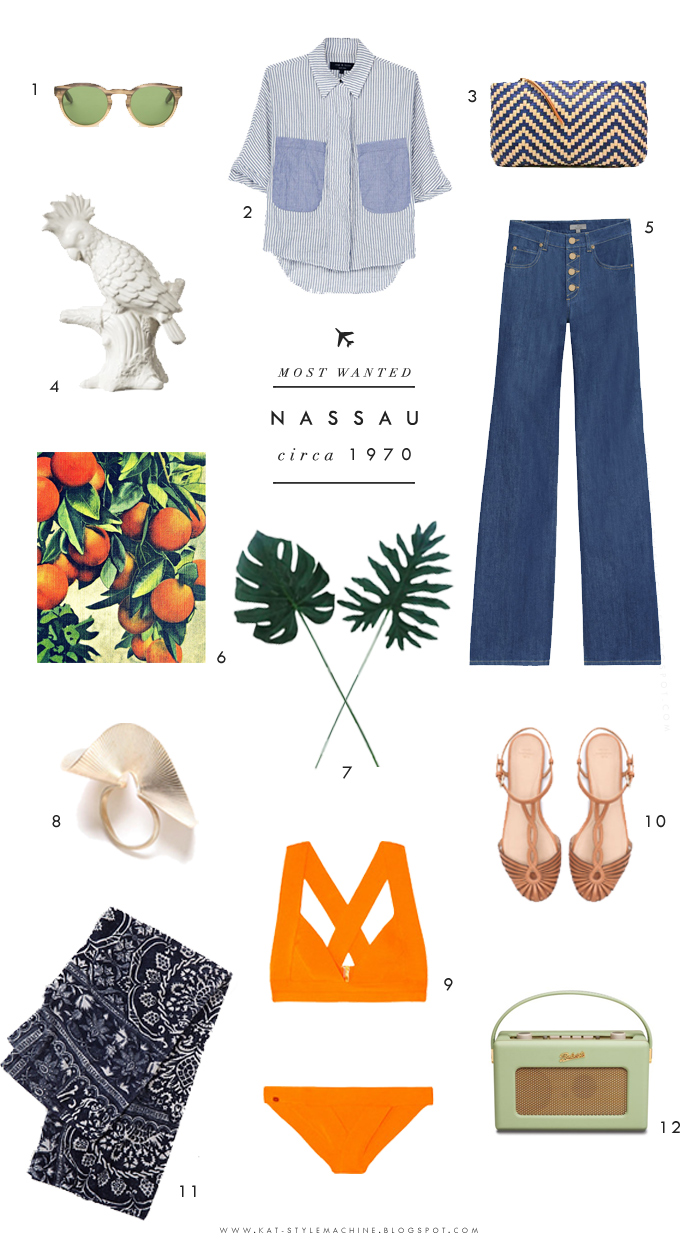 Style want list for spring inspired by the 70's and the bahamas