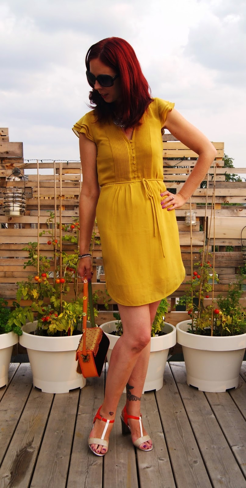 Mustard Yellow Warmth!: H&M Dress, Mary Frances Purse, Jessica Shoes from Sears, Shop For Jayu Necklace, Fall, Summer, Trend, OOTD, Outfit, fashion, style, styletips, thepurplescarf, melanie.ps, toronto,ontario, canada