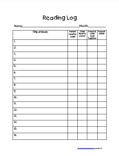 Teaching Blog Addict: Freebie! Take home reading log!