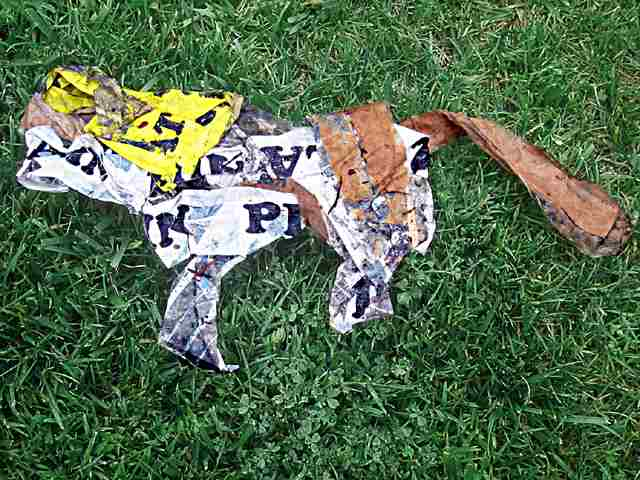 dead squirrel made from paper and packing tape, a found object © David Ocker