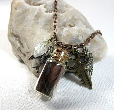 Glass Bottle Feather Necklace