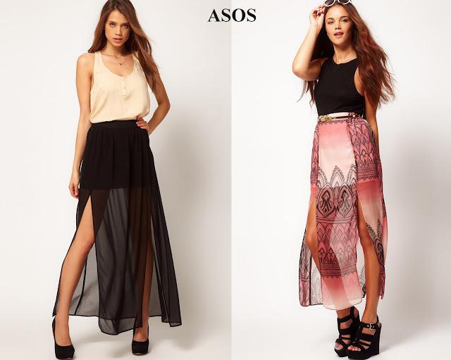 Falda larga con aberturas laterales de color negro de Asos y, falda larga con aberturas laterales estampada de Asos.