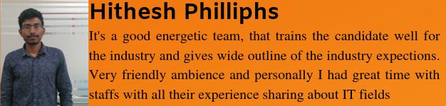 Hithesh Philliphs got placed as a Sql Developer