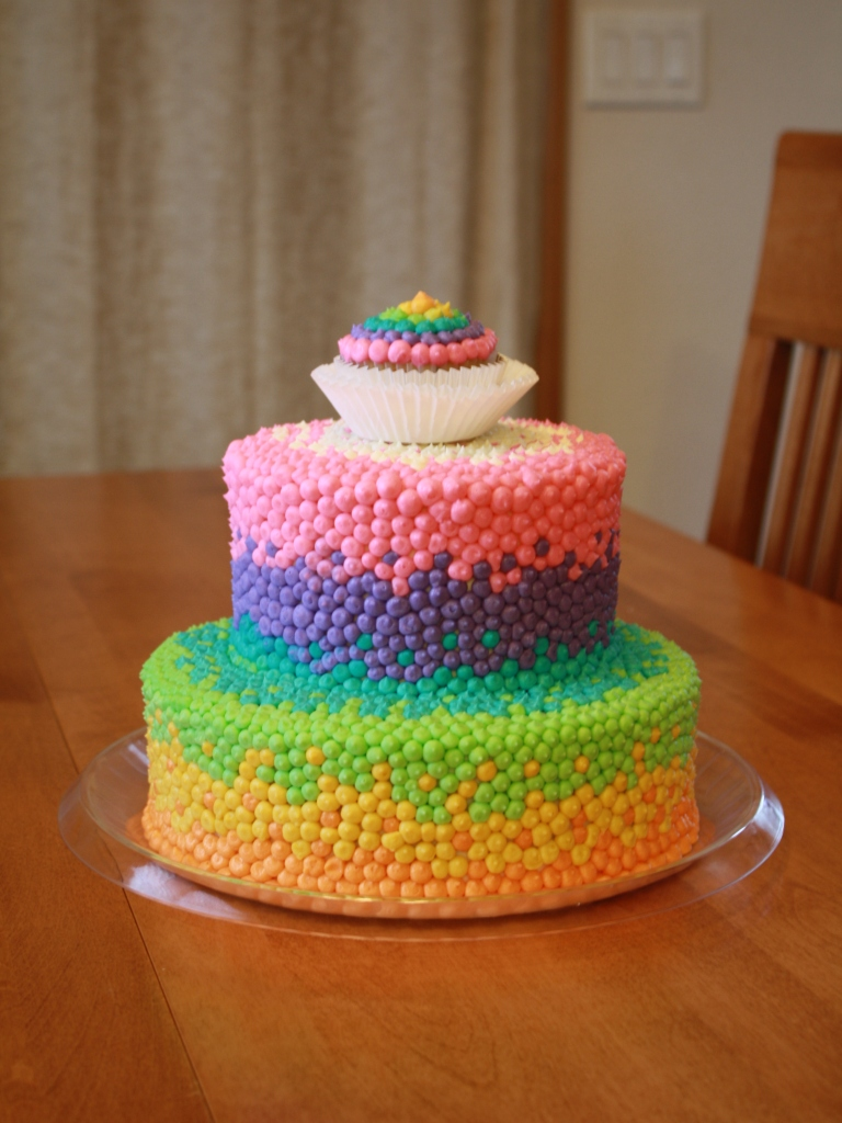 Party Cakes Rainbow Dot Cake For Brooklyn