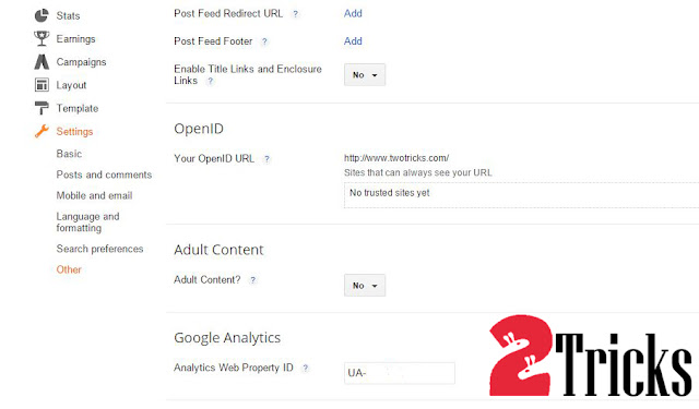 Install Google Analytics on blogger