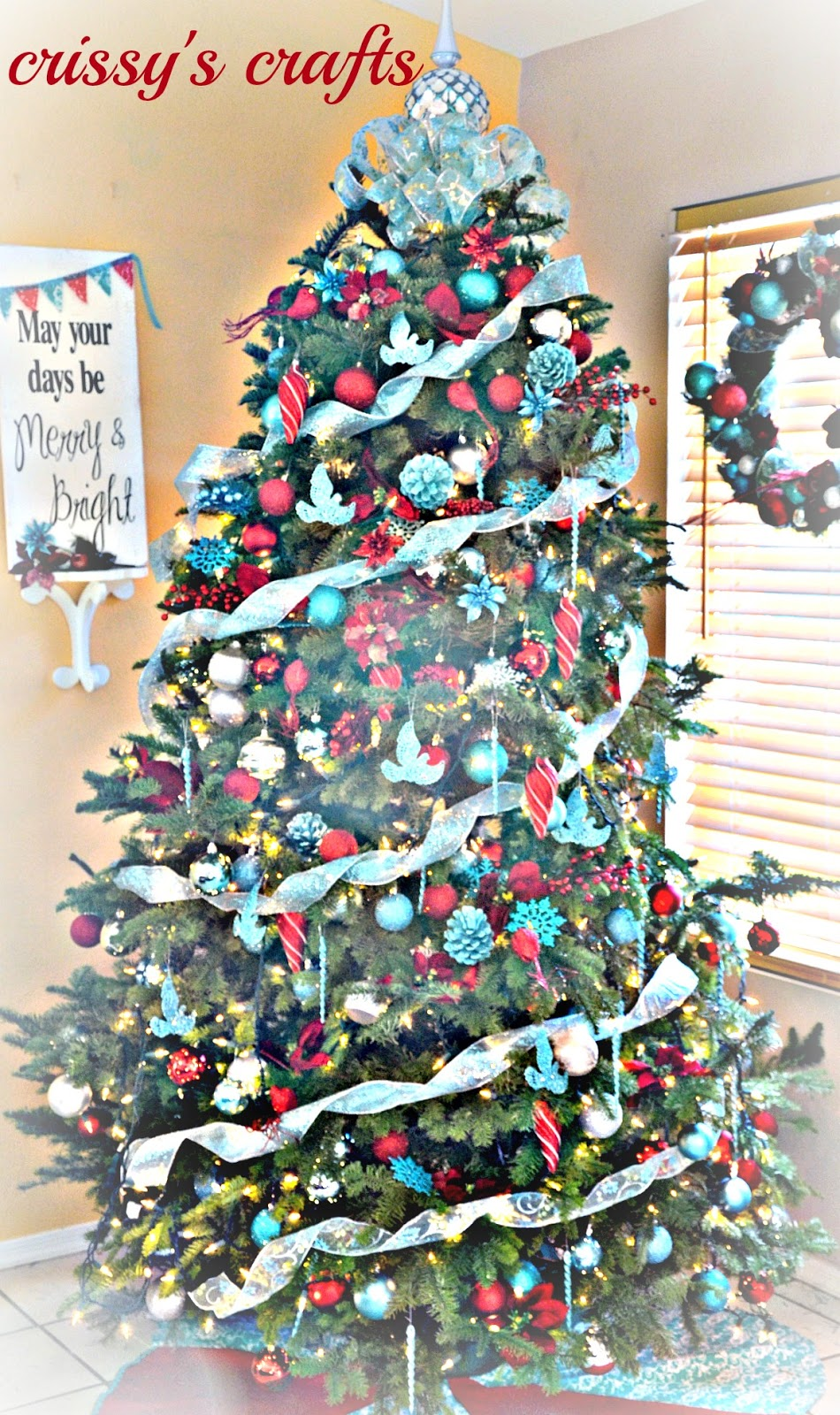 Crissy 39 S Crafts Aqua And Red Christmas Tree