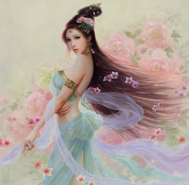 Yuji,digital art,blue dress