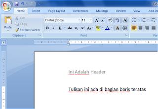 fungsi header dalam office word