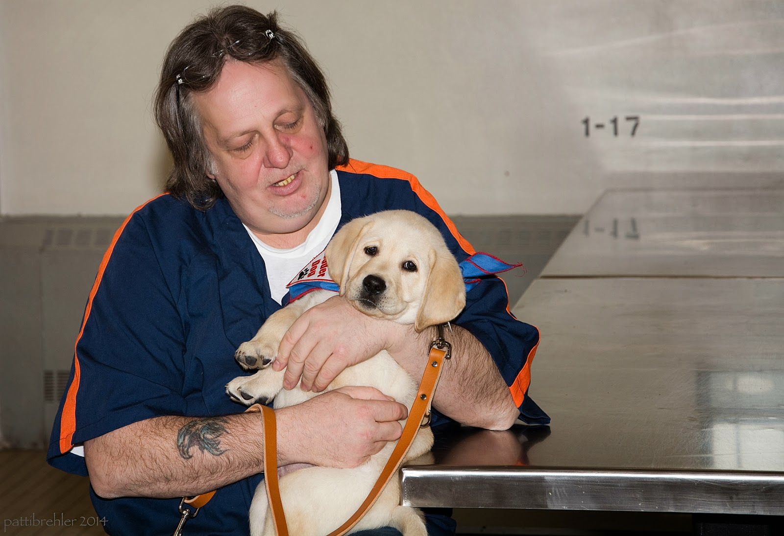 An older man dressed in a short-sleeved blue shirt with orange stripes on the shoulders and arms is holding a yellow lab puppy in his lap with both arms wrapped around it. His left elbow is resting on a shiny steel talbe. He has longish hair and a pair of glasses are up on the top of his head. He has a tattoo on the forearm of his right arm.