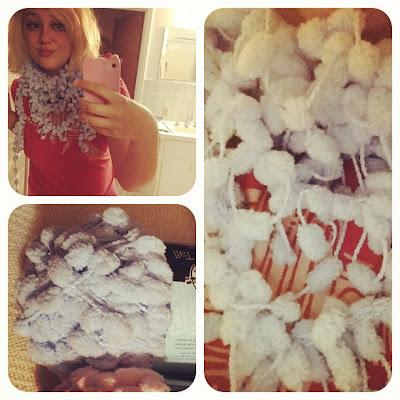 Crocheted Pom Pom Scarf