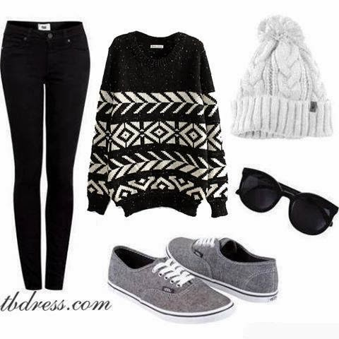 Adorable sweater, black pants, white hat and grey shoes combination for fall