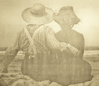back of young couple in sepia