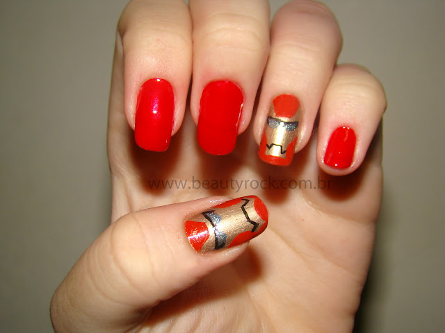 Unhas nail art Homem de Ferro, Iron Man