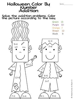 Halloween Math Coloring Sheets 2nd Grade Colorings
