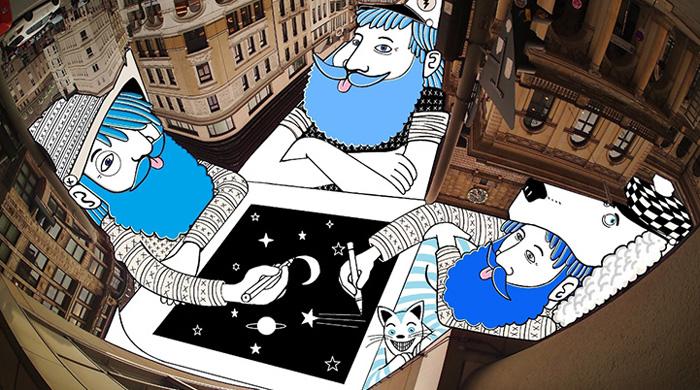 Ilustraciones caprichosas llenan extraños espacios en el cielo