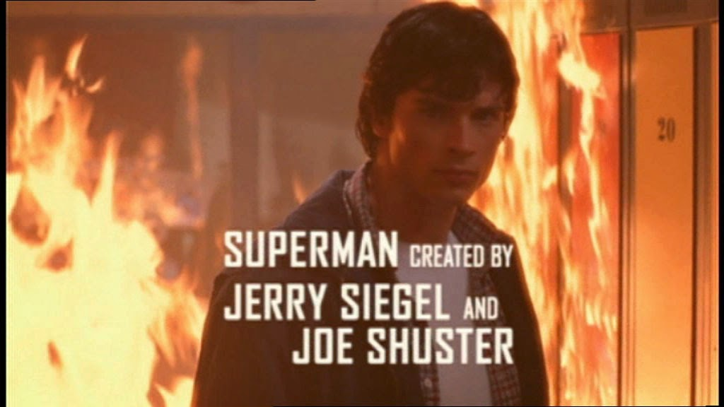 "Screen capture from the TV show ""Smallville"" with the text ""Superman created by Jerry Siegel and Joe Shuster"""