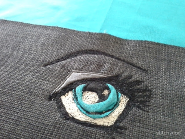Malen mit der Nähmaschine / Sticken ohne Stickmaschine - Auge