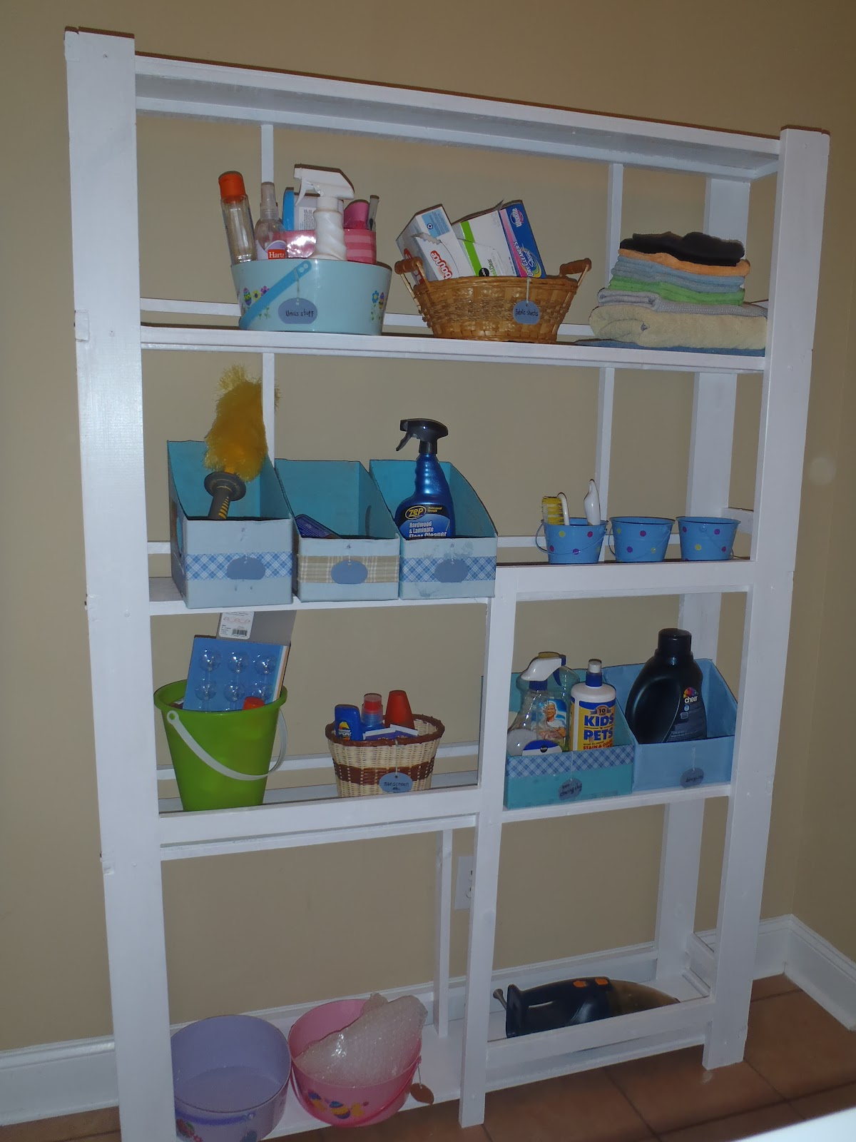 Lazy liz on less laundry room shelf for Laundry room shelving