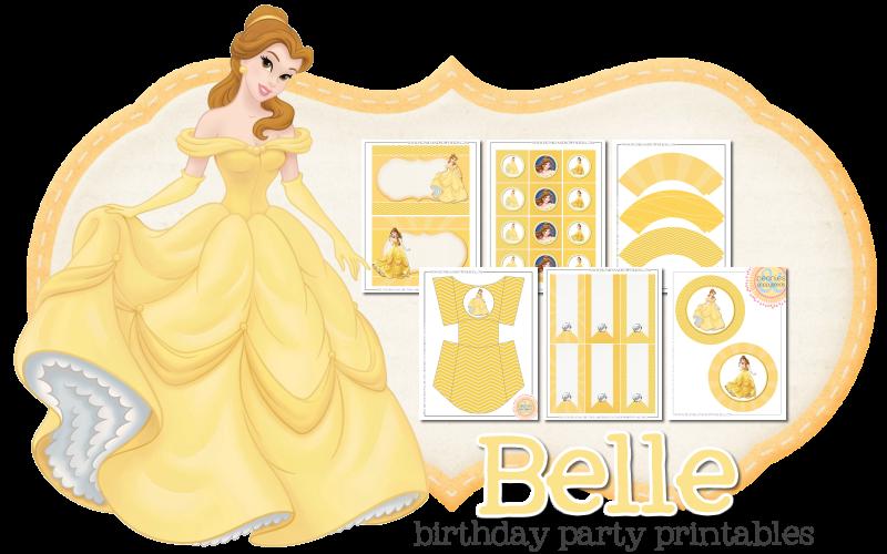 Imprimible gratis de Bella- Fiesta de princesas