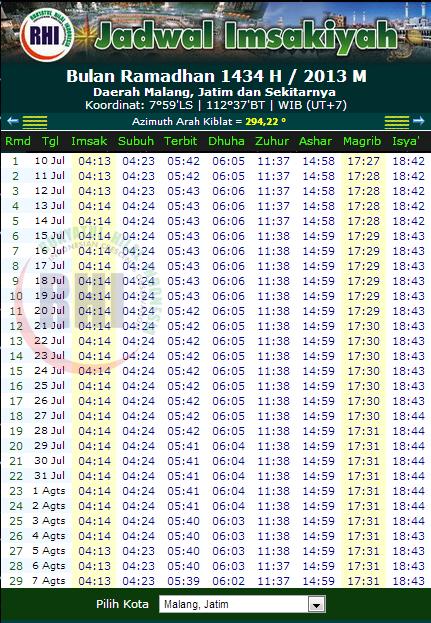 Jadwal Imsakiyah Puasa Ramadhan 1434 H