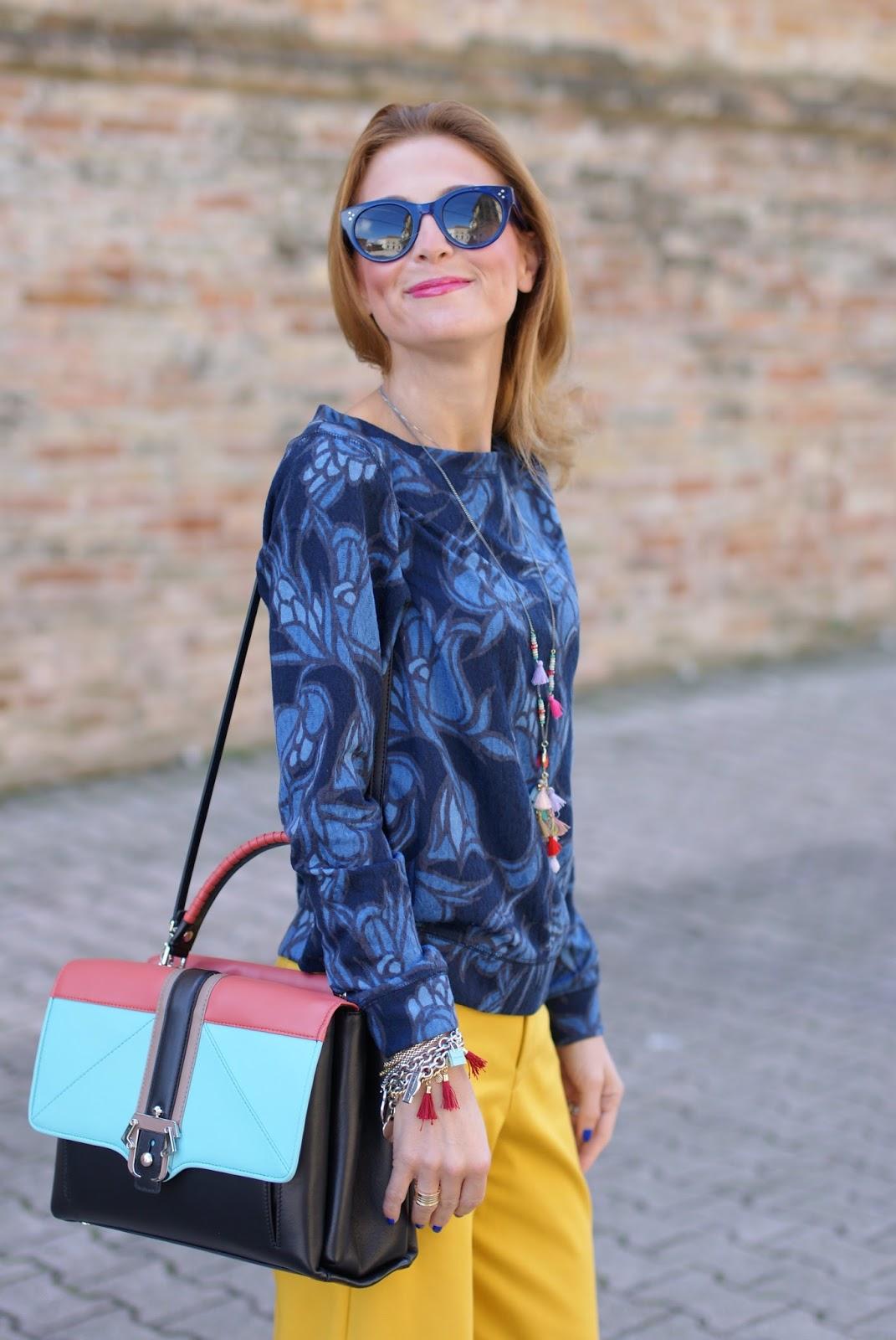 Paula Cademartori Faye color block handbag, tassels necklace on Fashion and Cookies fashion blog, fashion blogger style
