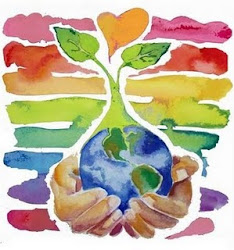 """Hoje estamos """"vestidos"""" com as cores da Terra :-))"""