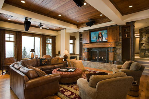 lounge room Luxury Rustic Interior Design for Lakeview Residence Decoração rústica