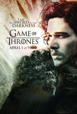 "Game of Thrones Season 2 Character Television Posters - ""I Am The Sword In The Darkness"" - Kit Harington as Jon Snow"