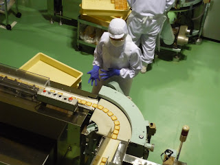 Checking for defects on a production line at the the shiroi koibito park biscuit factory