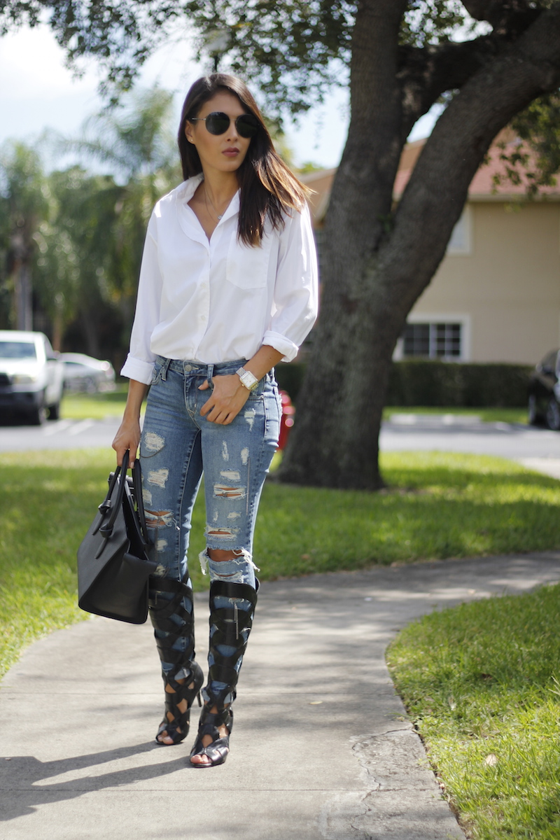 White button up, distressed denim, heel gladiators