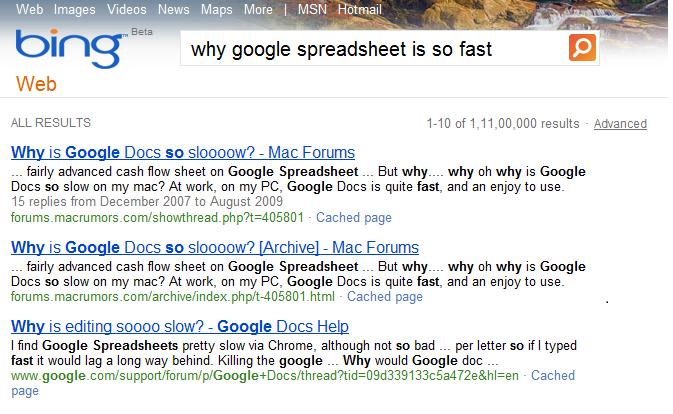 Google in Bing