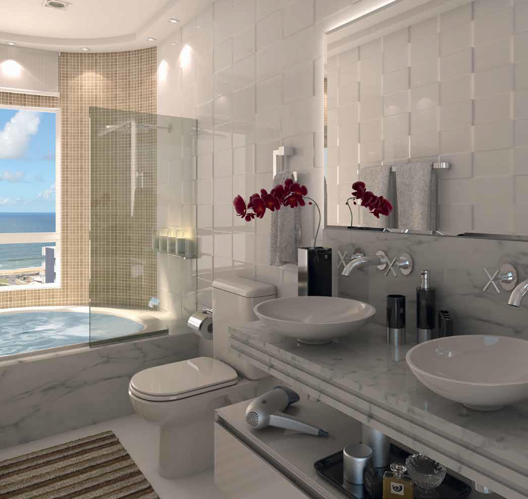 Aqui vão alguns banheiros lindos que com certeza alegram a vida de  #416F8A 1046x988 Banheiro Com Banheira E Tv
