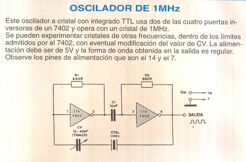 Circuito Oscilador : Fichas de circuitos electrónicos oscilador de mhz