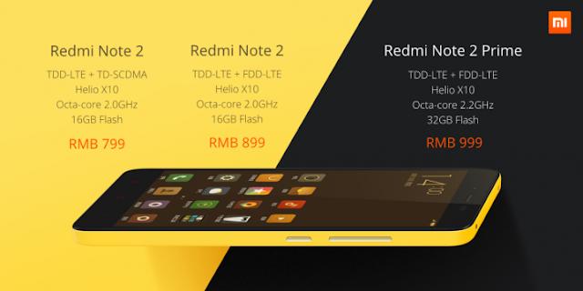 Especificações Redmi Note 2