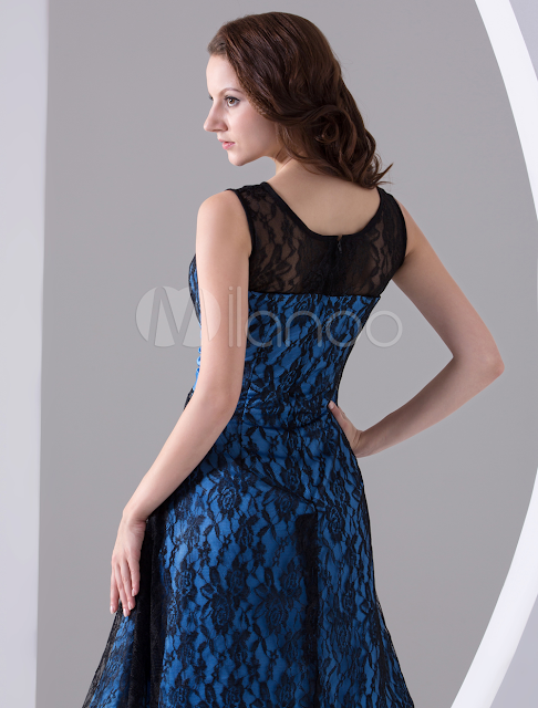 China Wholesale Homecoming Dresses - Black A-line Jewel Neck Lace Elastic Woven Satin Homecoming Dress