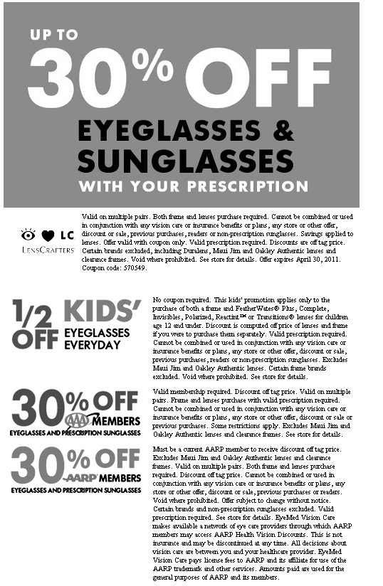 Lenscrafters coupons 50