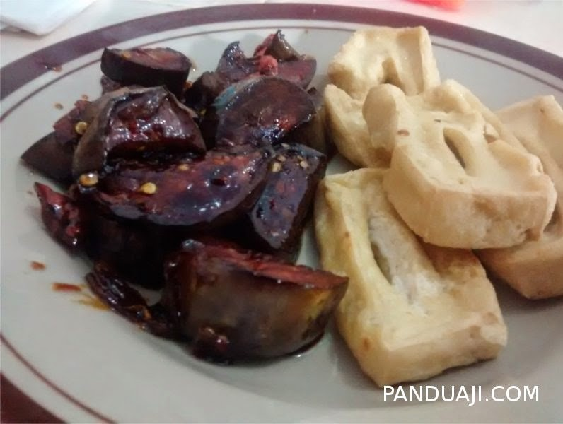 Sauted eggplant with fried tofu