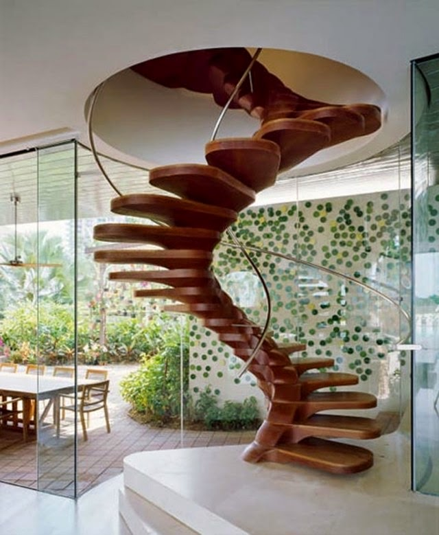 Stair Railings Ideas: Modern Spiral Staircase Design With Stair Railing