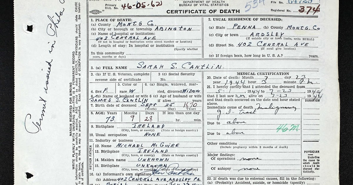 Is There a Ghost in the House?!? What Death Certificates Could ...