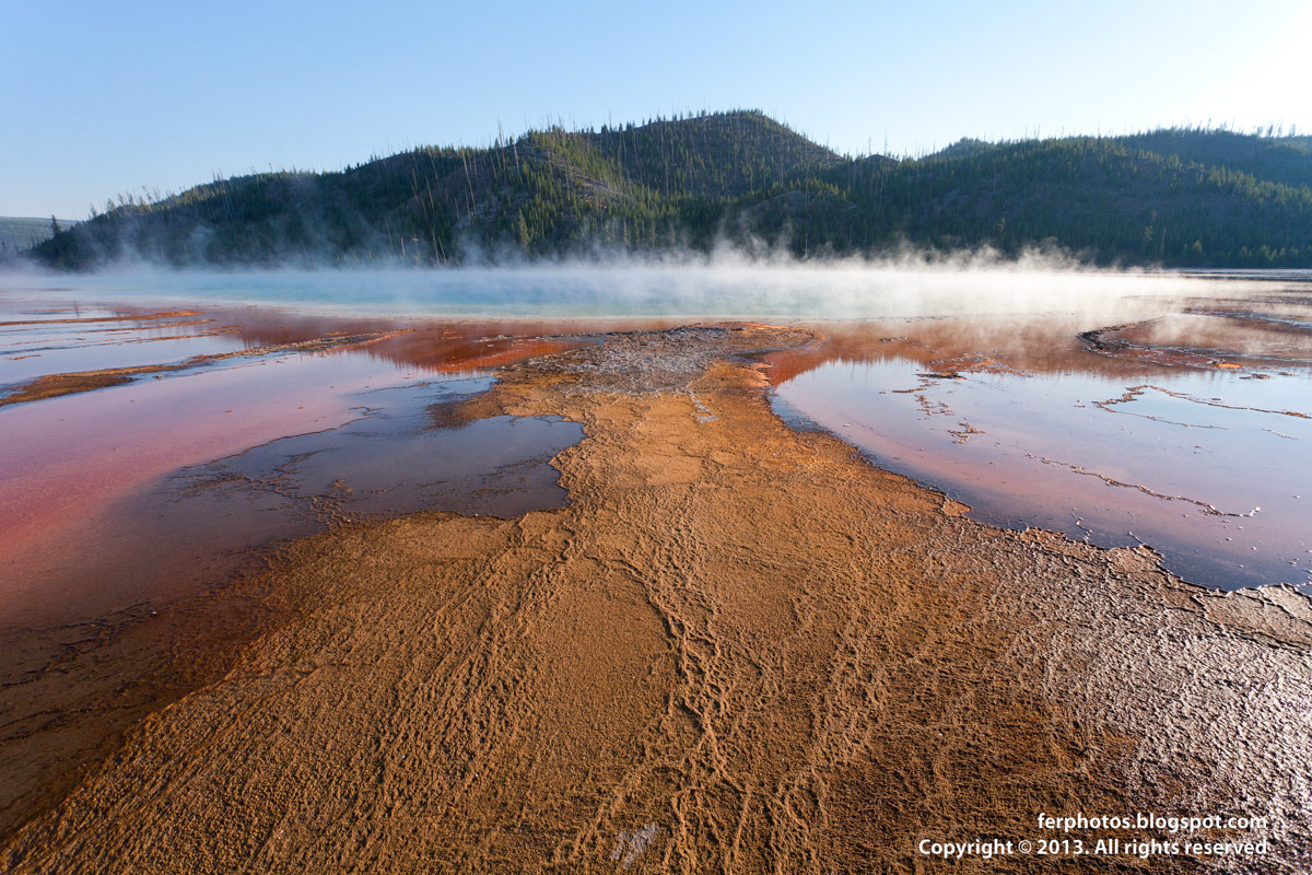 surface bacteria orange Grand Prismatic Pool third biggest hot spring in the world Yellowstone vivid colors