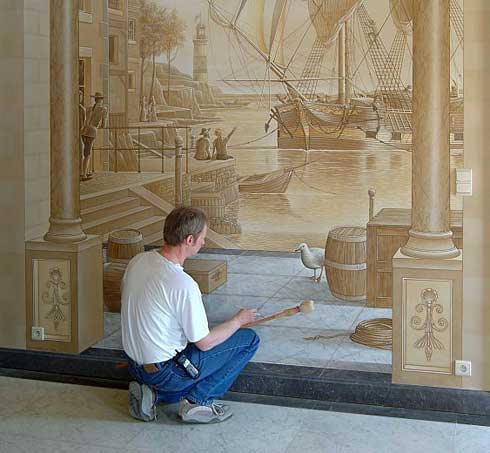 Wall painting ideas interior wall painting techniques for Interior wall painting designs