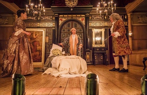 Melody Grove, Mark Rylance, Edward Peel - Farinelli and the King - Sam Wanamaker Playhouse - photo Marc Brenner