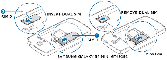 and Removing dual microSIM cards on Samsung Galaxy S4 Mini GT-I9192