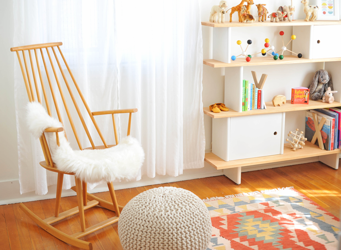 Modern Colorful Baby Girl Nursery | Ilmari Tapiovaara rocking chair