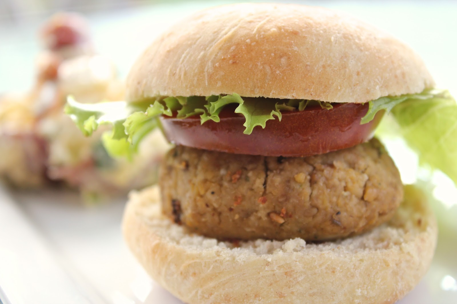 Mmmm - top with some tahini and enjoy your chickpea burger perfection!